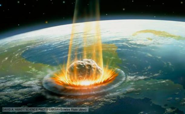 Artwork of the Chicxulub asteroid impact