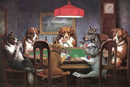 I couldn't resist...dogs playing poker!